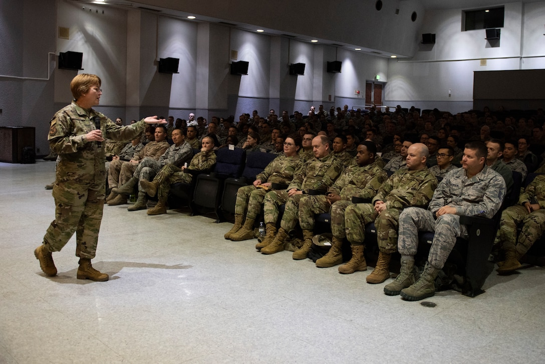 Lt. Gen. Dorothy Hogg, 23rd U.S. Air Force Surgeon General, discusses the importance of medical readiness and innovation with the 374th Medical Group during an all call at Yokota Air Base, Japan, Jan 29, 2019.