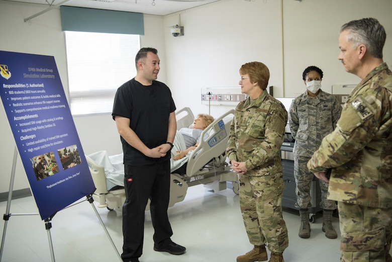 Lt. Gen. Dorothy Hogg, 23rd U.S. Air Force Surgeon General, and, Chief Master Sgt. G. Steve Cum, Chief of the Medical Enlisted Force meet with members of the 374th Medical Group Simulation Laboratory, Jan. 29, 2019, at Yokota Air Base, Japan.