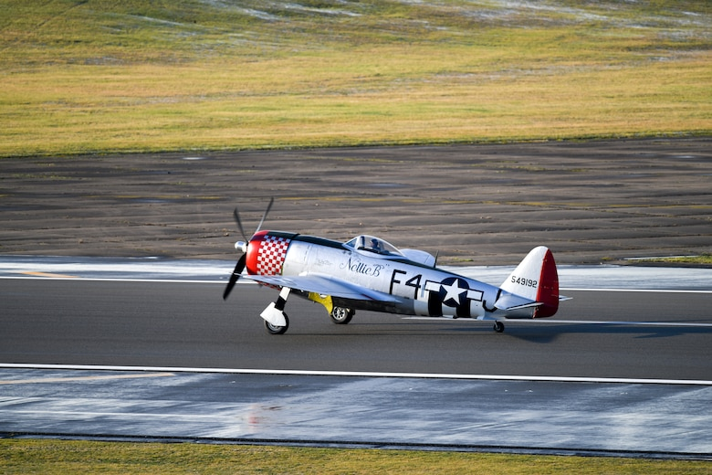 A P-47 Thunderbolt lands at Royal Air Force Lakenheath, England, Jan. 30, 2019. (U.S. Air Force photo by Senior Airman Malcolm Mayfield)