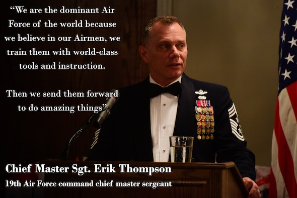Chief Master Sgt. Eric Thompson, 19th Air Force command chief master sergeant, speaks at the 2018 Annual Awards Banquet held at Laughlin Air Force Base, Texas, on January 26, 2018. Thompson told the story of 2nd Lt. Jack Laughlin, the base's namesake, and challenged Team XL Airmen to carry on the tradition of honor and legacy and valor as he also praised the nominees and winners for their dedication throughout the previous year. (U.S. Air Force graphic by Airman 1st Class Anne McCready)