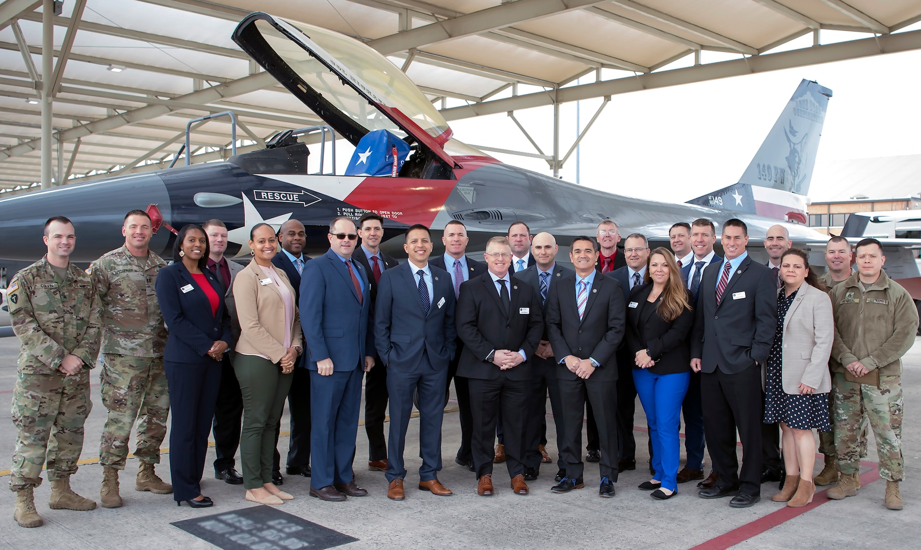 Participants of The Adjutant General's Leader Development Program stand in front of an F-16 assigned to 149th Fighter Wing at Joint Base San Antonio-Lackland Jan. 30. TAGLDP is intended to fill critical preparation gaps by introducing mid-level leaders to Texas Military Department specific strategic level concepts.
