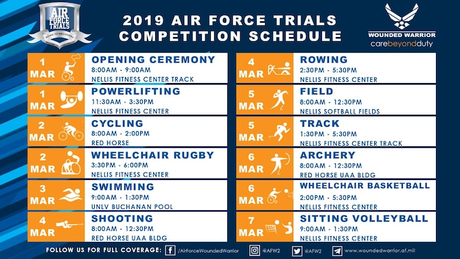 Over 150 wounded warriors will vie for one of 40 primary and 10 alternate positions on Team Air Force where they will compete at the 2019 Department of Defense Warrior Games in Tampa, Fla., June 21-30.