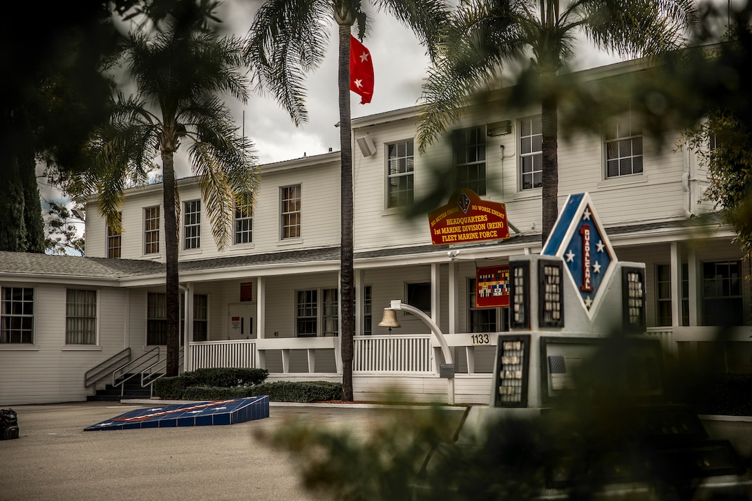 The photo depicts the 1st Marine Division Headquarters Building on Marine Corps Base Camp Pendleton, California, May 17, 2018.