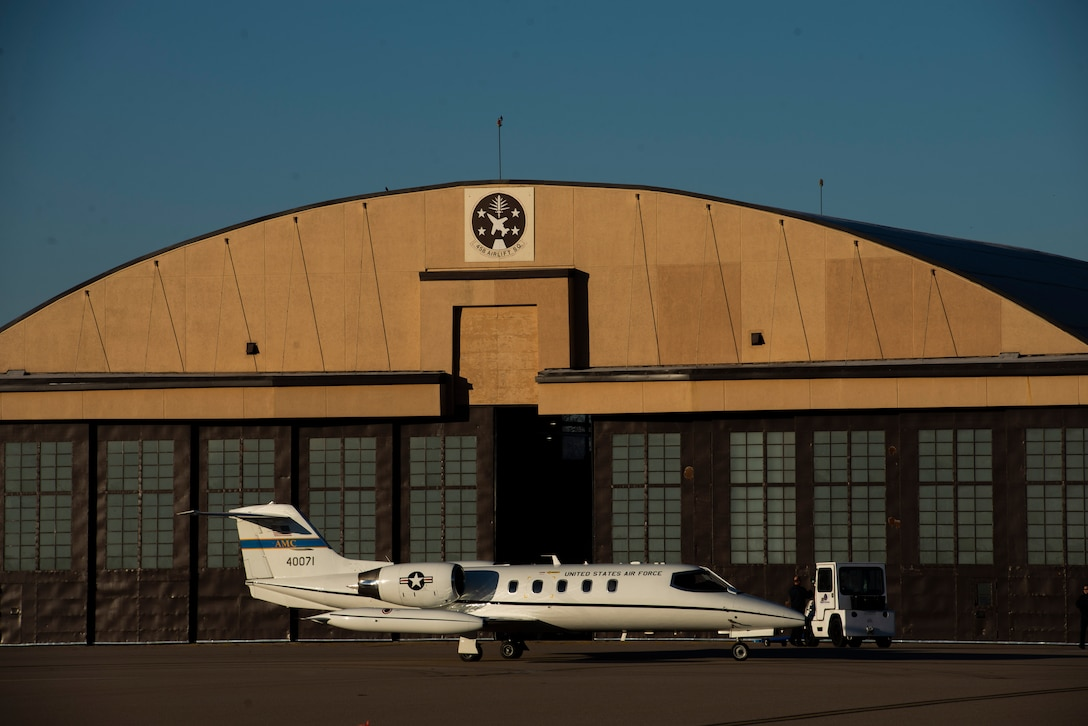 A C-21 aircraft gets fueled up outside of a 458th Airlift Squadron hangar, before a training flight on Dec. 17, 2018 at Scott Air Force Base, Illinois. The 458th AS celebrates 35 years of C-21 operations at Scott AFB in 2019. The C-21A is a twin turbofan-engine aircraft used for cargo and passenger airlift. The aircraft is the military version of the Learjet 35A business jet. In addition to providing cargo and passenger airlift, the aircraft is also capable of transporting one litter or five ambulatory patients during aeromedical evacuations.