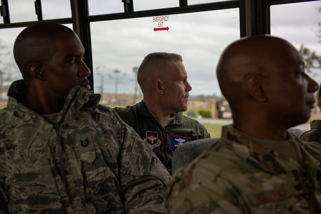 U.S. Air Force Lt. Gen. Steven Kwast, Air Education and Training Command commander, looks out the window at damage caused by Hurricane Michael Jan. 24, 2019, at Tyndall Air Force Base, Fla. Kwast and Chief Master Sgt. Juliet Gudgel, AETC command chief, met with leaders from the 337th Air Control Squadron to better understand the current state of the unit. (U.S. Air Force photo by Staff Sgt. Peter Thompson)