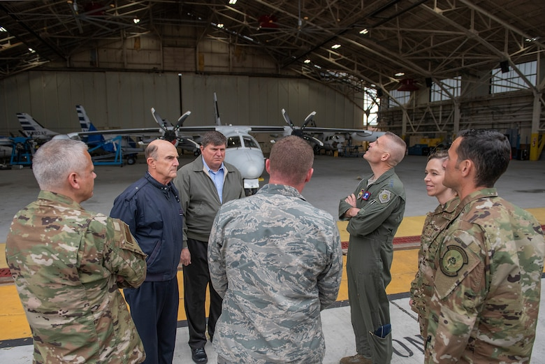 U.S. Air Force Lt. Gen. Steven Kwast, Air Education and Training Command commander, views the state of the hangar housing MU-2 aircraft Jan. 24, 2019, at Tyndall Air Force Base, Fla. The MU-2 is a contracted training aircraft that is crucial to the 337th Air Control Squadron's training mission. The MU-2s were the final piece needed for the ACS to resume classes following Hurricane Michael. (U.S. Air Force photo by Staff Sgt. Peter Thompson)