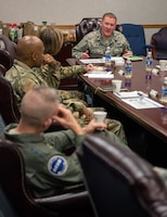 U.S. Air Force Lt. Col. Michael Lynch, 337th Air Control Squadron commander, speaks with leaders from Air Education and Training Command and the 33rd Fighter Wing about hurricane recovery progress Jan. 24, 2019, at Tyndall Air Force Base, Fla. The 337th ACS sustained damage to several of its structures during Hurricane Michael. (U.S. Air Force photo by Staff Sgt. Peter Thompson)