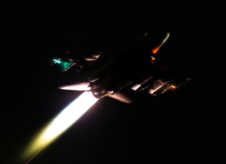A U.S. Air Force F-16CM Fighting Falcon assigned to the 79th Fighter Squadron (FS) takes-off during Exercise Red Flag 19-1 at Nellis Air Force Base, Nev., Jan. 30, 2019.