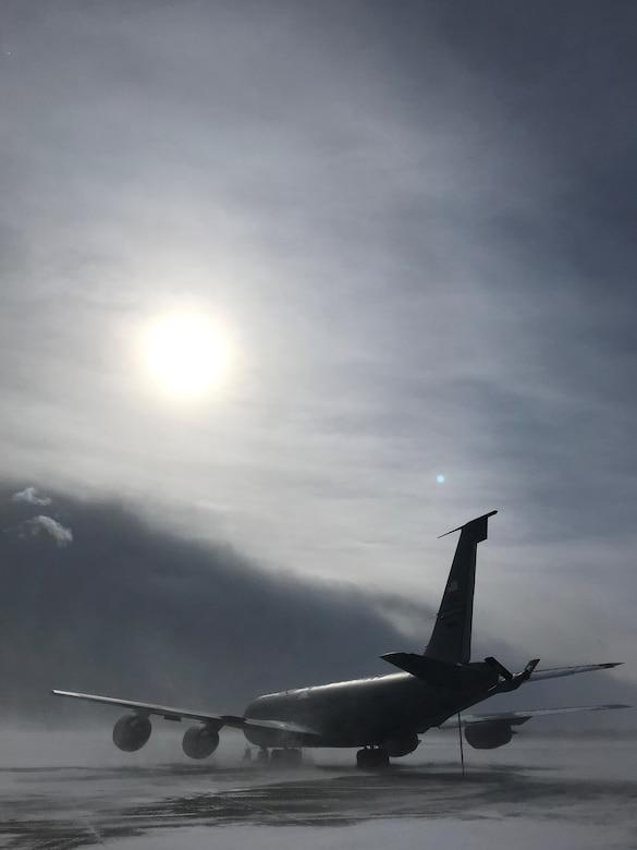 KC-135 awaits lake effect snow storm
