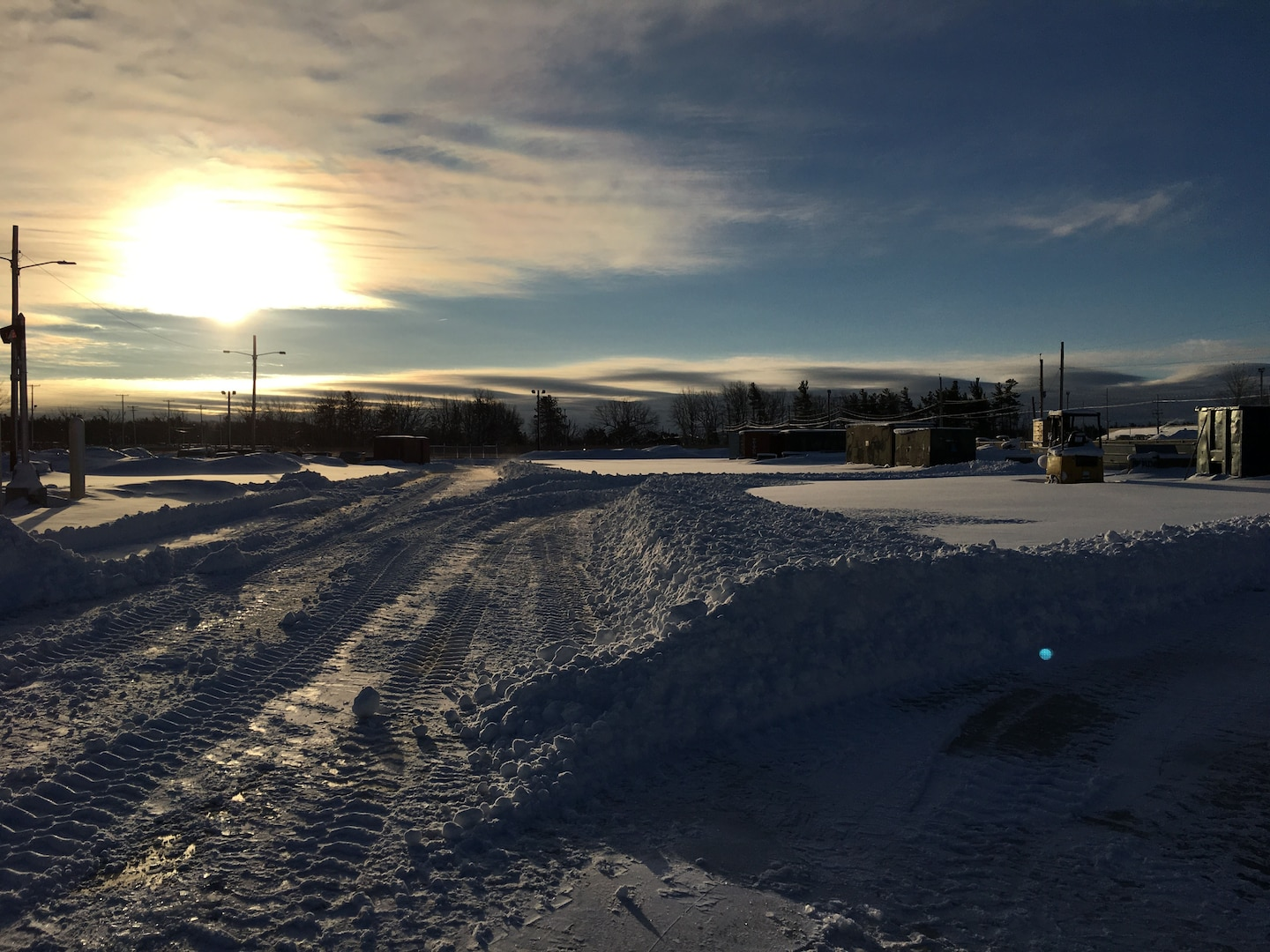 A snowy sunrise at the DLA Disposition Services site at Ft. Drum, New York.