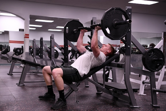 Airman 1st Class Ryan Bond, 4th Component Maintenance Squadron aerospace propulsion journeyman, works out on newly installed fitness equipment on Jan. 31, 2019, at Seymour Johnson Air Force Base, North Carolina.
