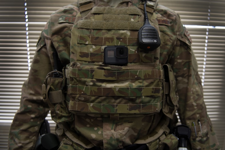 A 55th Security Forces Squadron member displays a action camera on his vest Jan. 31, 2019, on Offutt Air Force Base, Nebraska. The defenders recently purchased several cameras in order to improve training and readiness. (U.S. Air Force photo by Tech. Sgt. Rachelle Blake)