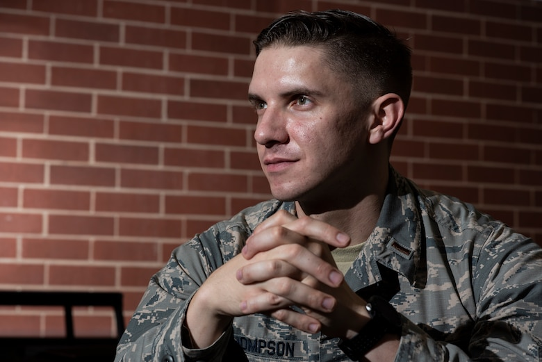 2nd Lt. Josh Thompson, 49th Wing Public Affairs officer, poses for a portrait, Jan. 25, 2019, at the Defense Information School on Fort George G. Meade, Md. Currently attending his public affairs training at DINFOS, Thompson continues to adapt to the daily changes that he is faced with in his new career as a PAO. (United States Air Force photo by Tech. Sgt. Maeson L. Elleman)
