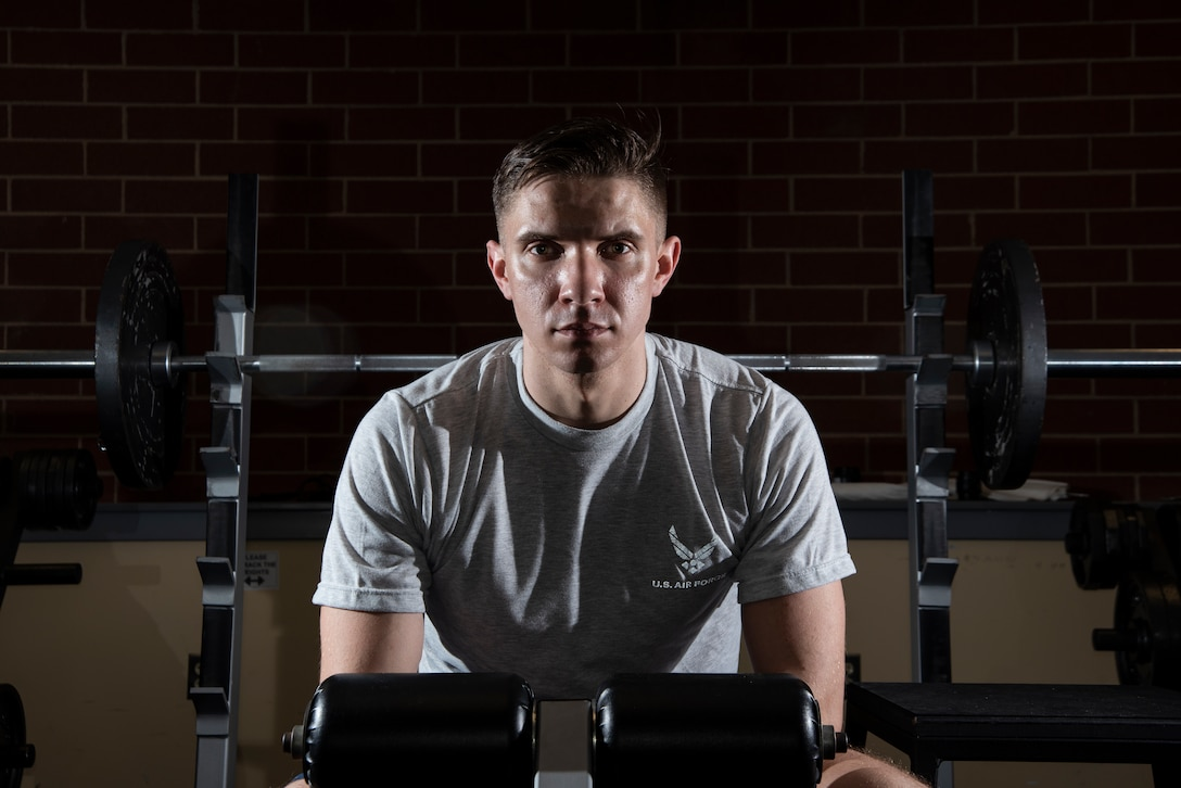 2nd Lt. Josh Thompson, 49th Wing Public Affairs officer, poses for a portrait, Jan. 25, 2019, at the fitness center on Fort George G. Meade, Md. After actively pursuing an Air Force commission for eight years, Thompson continues to challenge his physical limitations as a daily practice of resiliency. (United States Air Force photo by Tech. Sgt. Maeson L. Elleman)