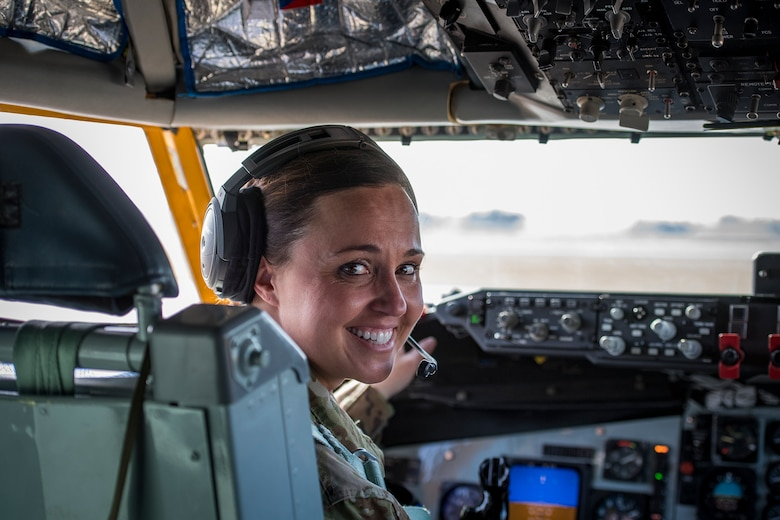 Lt. Col. Jessica Guarini, 22d Expeditionary Air Refueling Squadron commander, prepares for takeoff prior to a refueling mission on June 6, 2019, at Incirlik Air Base, Turkey. During her tenure, the unit boasted an air tasking order support percentage between 98 and 100 percent. (U.S. Air Force photo by Staff Sgt. Ceaira Tinsley)