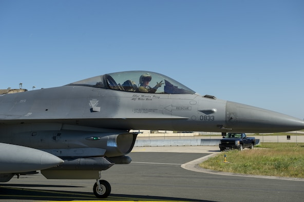 U.S. Air Force Lt. Col. Joshua Kubacz, 52nd Operations Support Squadron commander, taxis in an F-16 Fighting Falcon after his final flight at Spangdahlem Air Base, Germany, June 27, 2019. Kubacz surpassed 2,000 flying hours in March 2019 while stationed at Spangdahlem AB. (U.S. Air Force photo by Airman 1st Class Branden Rae)