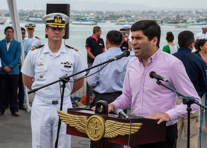 Vice President of Ecuador, Otto Sonnenholzner, speaks during the Comfort Deployment 2019 opening ceremony.