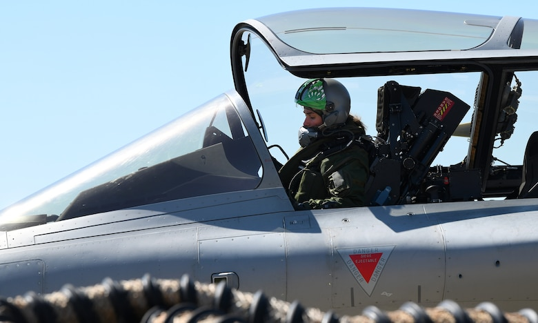 A French Air Force pilot prepares to taxi during exercise Point Blank 19-2 at Royal Air Force Lakenheath, England, June 17, 2019. Routine multinational training exercises like Point Blank increase participating air force's ability to better integrate with other allied nations. (U.S. Air Force photo by Staff Sgt. Alex Fox Echols III/Released)