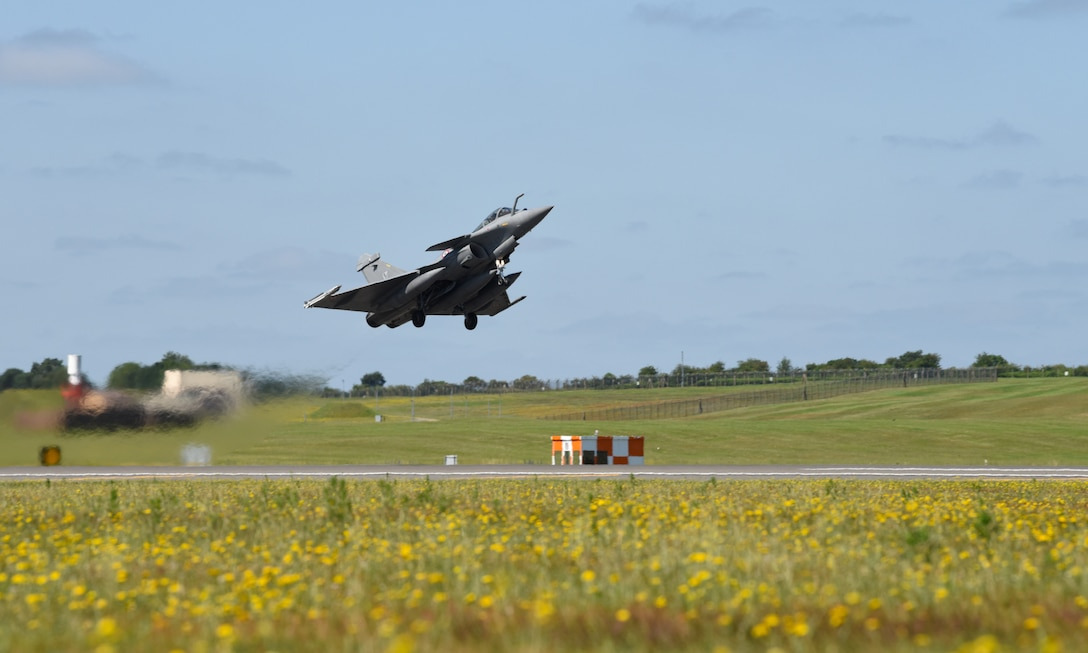 A French Air Force Rafale takes off to participate in exercise Point Blank 19-2 at Royal Air Force Lakenheath, England, June 27, 2019. The transatlantic strategic relationships between the U.S. and its European allies has been forged over the past seven decades. (U.S. Air Force photo by Airman 1st Class Rhonda Smith)