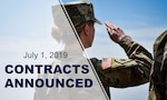 "Back of soldier saluting with text reading: ""July 1, 2019 contracts announced."""