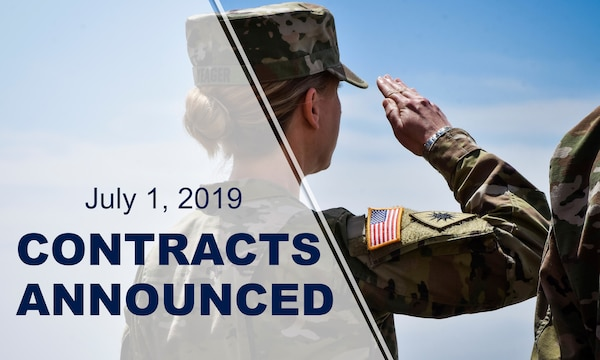 """Back of soldier saluting with text reading: """"July 1, 2019 contracts announced."""""""