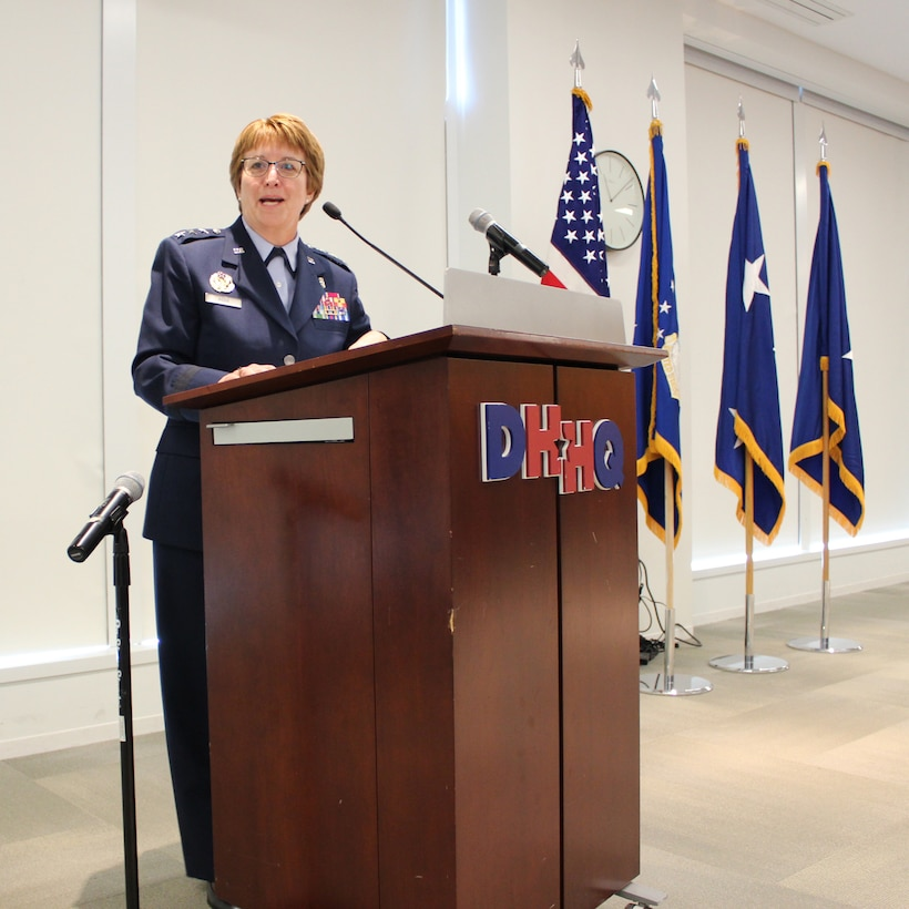 U.S. Air Force Surgeon General, Lt. Gen. Dorothy Hogg, speaks at the official activation of Air Force Medical Readiness Agency, at Defense Health Headquarters, Falls Church, Virginia, June 28, 2019. (U.S. Air Force photo by Josh Mahler)