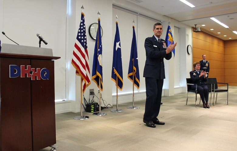 Brig. Gen. Mark Koeniger speaks at the official activation of the Air Force Medical Readiness Agency, at Defense Health Headquarters, Falls Church, Virginia, June 28, 2019. Koeniger is be the first AFMRA commander. (U.S Air Force photo by Josh Mahler)