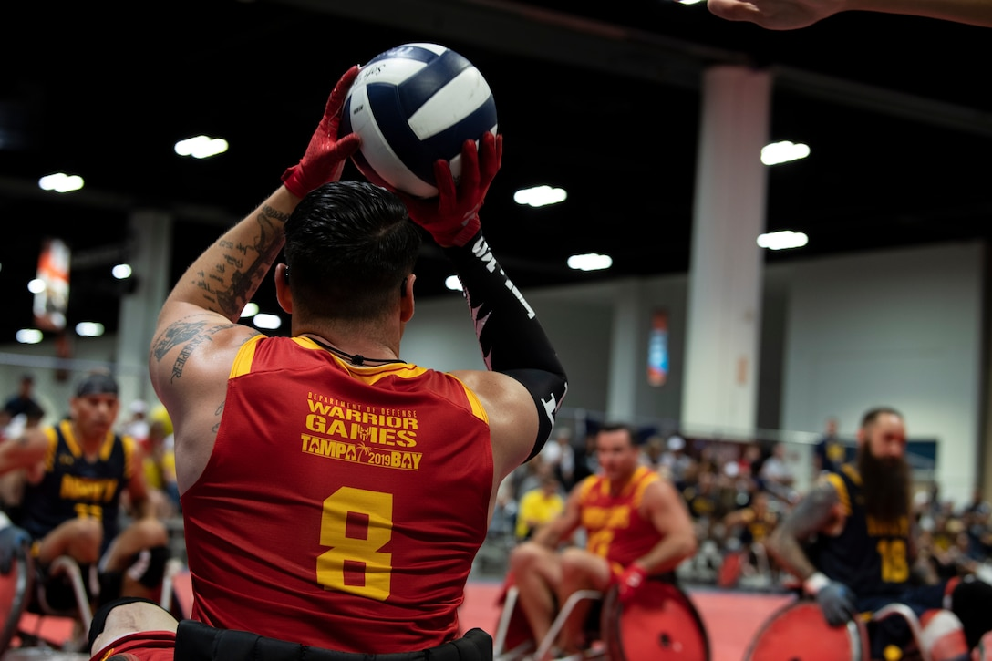U.S. Marine Corps Staff Sgt. Jason Pacheco participates in the DoD Warrior Games Wheelchair Rugby competition in Tampa, Florida, June 27, 2019. DoD Warrior Games were established in 2010 as a way to enhance the recovery and rehabilitation of wounded, ill or injured service members and veterans and to expose them to adaptive sports.