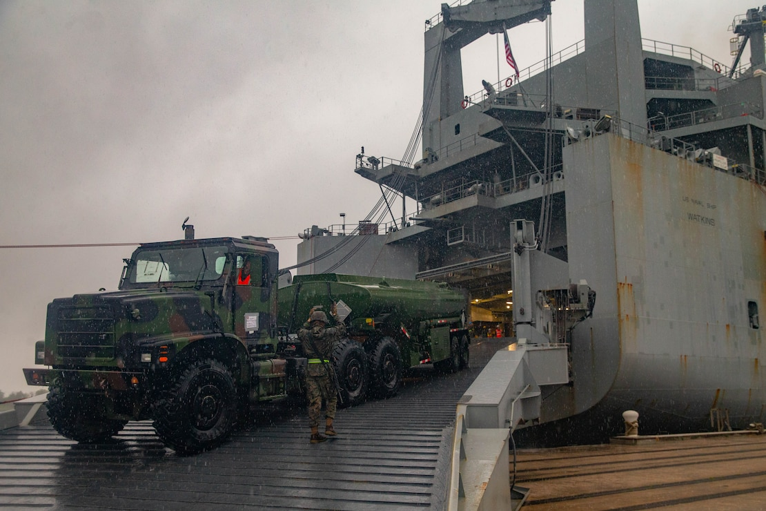 U.S. Marines with 2nd Transportation Support Battalion, Combat Logistics Battalion 2, 2nd Marine Logistics Group, load an M970 semitrailer refueling truck onto the USNS Watkins during an on load port operation during exercise Resolute Sun at Joint Base Charleston, South Carolina, June 12, 2019. Marines participated in the exercise to increase combat operational readiness in amphibious and prepositioning operations while conducting joint training with the U.S. Army during a joint logistics over the shore scenario.