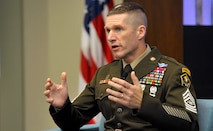 Sgt. Maj. of the Army Daniel Dailey speaks about retention and academic credentialing at the Association of the U.S. Army Institute of Land Warfare breakfast in Arlington, Va., June 26, 2019.