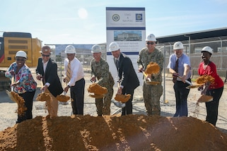 Norfolk Naval Shipyard (NNSY) held a groundbreaking for its new production training facility July 1, which will consolidate training currently spread across 26 different NNSY locations and eight departments into a single 157,000 square-foot, $64.7 million dollar facility.  Participants in the groundbreaking, from left to right, are: Danielle Beamon, NNSY Acting Code 900 Training Group Superintendent; Craig Shadle, RQ Construction, LLC, Project Executive; Congressman Bobby Scott, 3rd Congressional District of Virginia; Captain Kai Torkelson, Shipyard Commander; David Wickersham, aide to Congresswoman Elaine Luria, 2nd Congressional District of Virginia; Commander Ben Wainwright, Naval Facilities Engineering Command Public Works Officer; Robert Fogel, Shipyard Infrastructure Optimization Project Superintendent; Chakeita Dickson, NNSY Command University Leadership Development Branch Head.