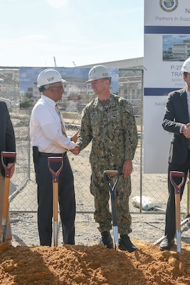 Norfolk Naval Shipyard (NNSY) Commander Captain Kai Torkelson discusses Shipyard Infrastructure Optimization Plan improvements with Congressman Bobby Scott, 3rd Congressional District of Virginia, at the groundbreaking for NNSY's new production training facility July 1.