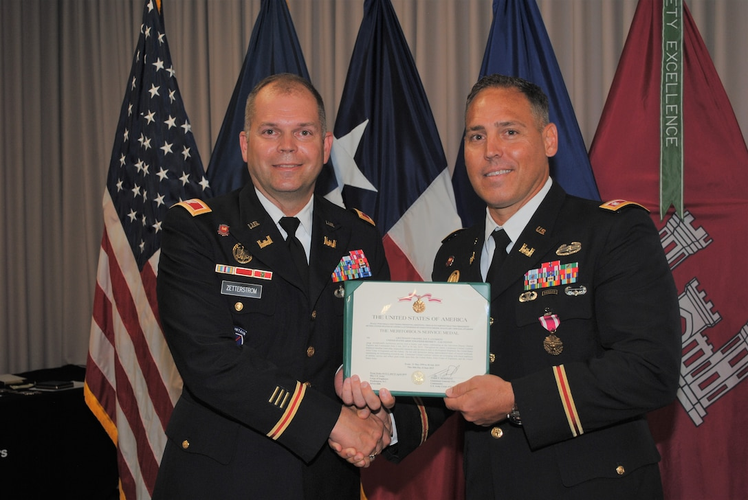 GALVESTON, Texas (June 28, 2019)— Lt. Col. Jay Luckritz retires from the U.S. Army as Deputy District Engineer and Deputy Commander of the U.S. Army Corps of Engineers, Galveston District. Throughout his twenty-year career of steadfast leadership in the engineer regiment and the U.S. Army Corps of Engineers, Lt. Col. Luckritz led with distinction during unprecedented times of record workload, maintaining an outstanding execution rate. Under his leadership, Galveston District excelled in civil and international/inter-agency support. His leadership and dedication contributed immeasurably to the success of the U.S. Army and our nations' security. His actions are in keeping with the finest traditions of the U.S. military and reflect great credit upon himself, the U.S. Army Corps of Engineers, and the United States Army.