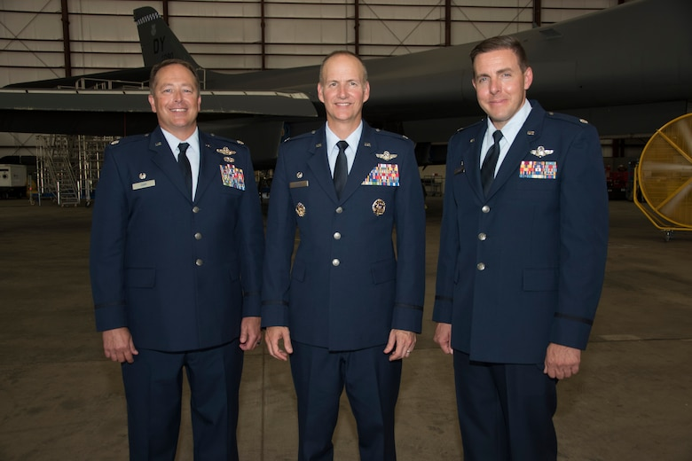 Senior officers gather following the 10th Flight Test Squadron change of command ceremony June 28, 2019, Tinker Air Force Base, Oklahoma. From left to right are: Lt. Col. Jon D. Cary, 10th FLTS outgoing commander, Col. Christopher M. Zidek, commander of the 413th Flight Test Group and Lt. Col. James T. Couch, incoming 10th FLTS commander. (U.S. Air Force photo/Greg L. Davis)