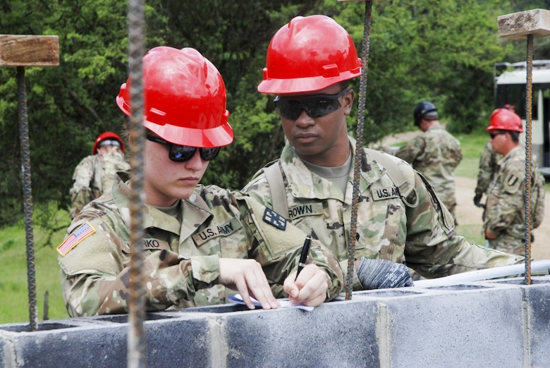 Cadet Jenna Yorko, 365th Engineer Battalion, Schuylkill Haven, Pa., takes notes with Spc. Germain Brown at Eucalypto school construction site during exercise Beyond the Horizon.