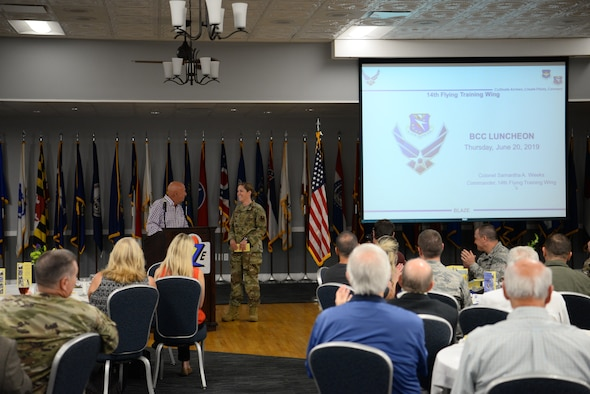 Col. Samantha Weeks, 14th Flying Training Wing commander, and Chuck Bigelow, Base Community Council president, discuss the importance of community relations between BCC members and Airmen, June 20, 2019, on Columbus Air Force Base, Mississippi. The BCC is a multi-community organization that focuses on connecting civilian communities to Air Force Bases. (U.S. Air Force photo by Airman 1st Class Jake Jacobsen