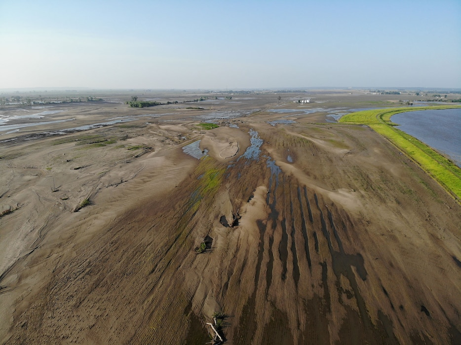 Aerial view of breach L575a northwest of Percival, Iowa June 20, 2019.