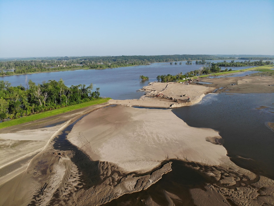 Aerial view of breach L575a northwest of Percival, Iowa June 28, 2019.