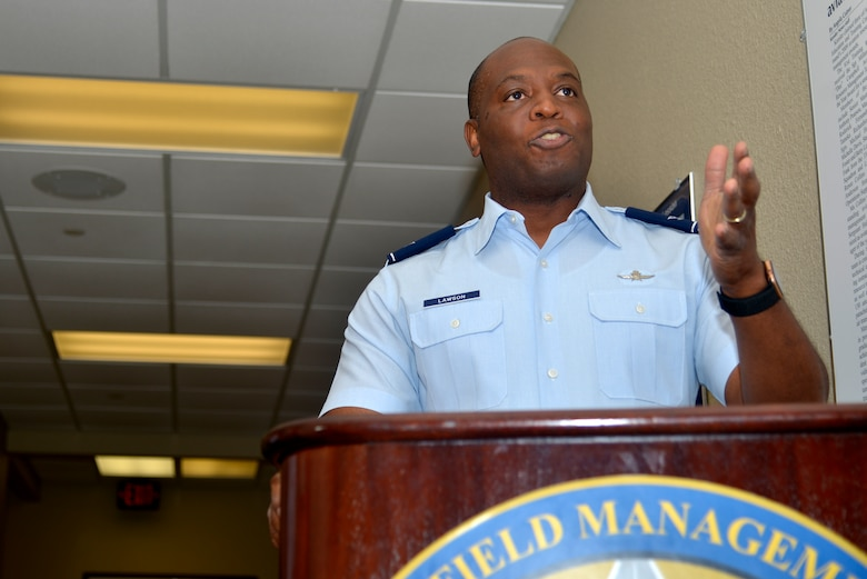 U.S. Air Force Col. Leo Lawson Jr., previous 81st Training Group commander, speaks about the new virtual reality technology of the 334th Training Squadron at Cody Hall, on Keesler Air Force Base, Mississippi, June 28, 2019. The 334th TRS incorporated a VR classroom to teach Airfield Maintenance more efficiently with visual simulation. (U.S. Air Force photo by Airman Seth Haddix)