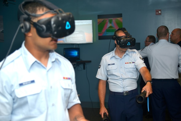 Airmen from the 334th Training Squadron try out the new virtual reality technology of the 334th TRS at Cody Hall, on Keesler Air Force Base, Mississippi, June 28, 2019. The 334th TRS incorporated a VR classroom to teach Airfield Maintenance more efficiently with visual simulation. (U.S. Air Force photo by Airman Seth Haddix)