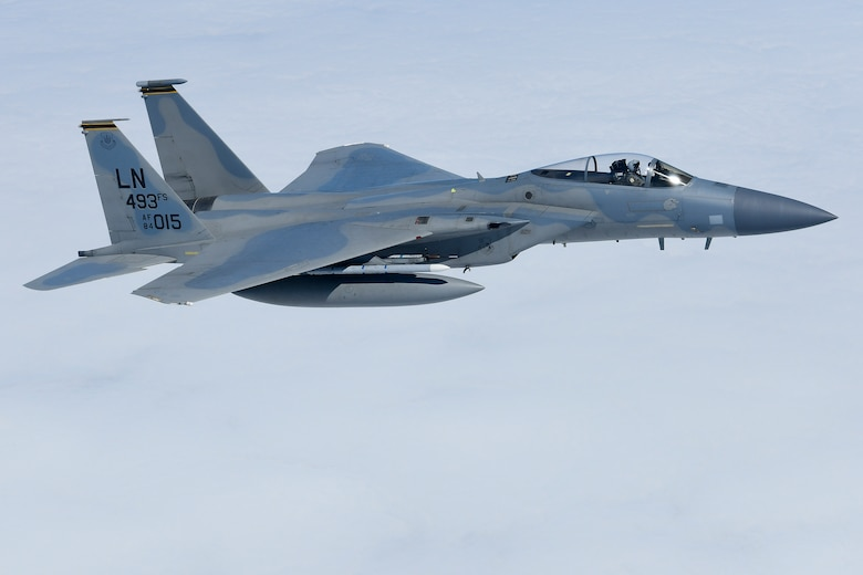 An F-15C Eagle assigned to the 493rd Fighter Squadron conducts aerial operations in support of exercise Pointblank 19-2, over the Nprth Sea, June 27, 2019. The objective of the exercise is to prepare coalition warfighters for a highly contested fight against near-peer adversaries by providing a multi-dimensional battle-space to conduct advanced training in support of US, UK and French national interests. (U.S. Air Force photo/ Tech. Sgt. Matthew Plew)