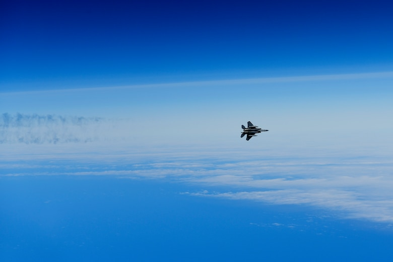 An F-15C Eagle assigned to the 493rd Fighter Squadron conducts basic fighter maneuvers in support of exercise Pointblank 19-2, over the Nprth Sea, June 27, 2019. The objective of the exercise is to prepare coalition warfighters for a highly contested fight against near-peer adversaries by providing a multi-dimensional battle-space to conduct advanced training in support of US, UK and French national interests. (U.S. Air Force photo/ Tech. Sgt. Matthew Plew)