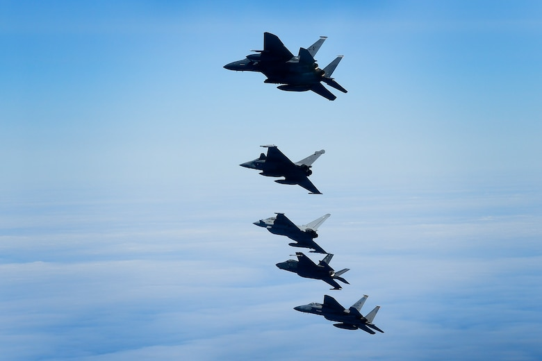 U.S. Air Force fourth and fifth-generation aircraft fly in an echelon formation with a Royal Air Force Typhoon and a French Rafale in support of exercise Pointblank 19-2, over the North Sea, June 27, 2019. The objective of the exercise is to prepare coalition warfighters for a highly contested fight against near-peer adversaries by providing a multi-dimensional battle-space to conduct advanced training in support of US, UK and French national interests. (U.S. Air Force photo/ Tech. Sgt. Matthew Plew)