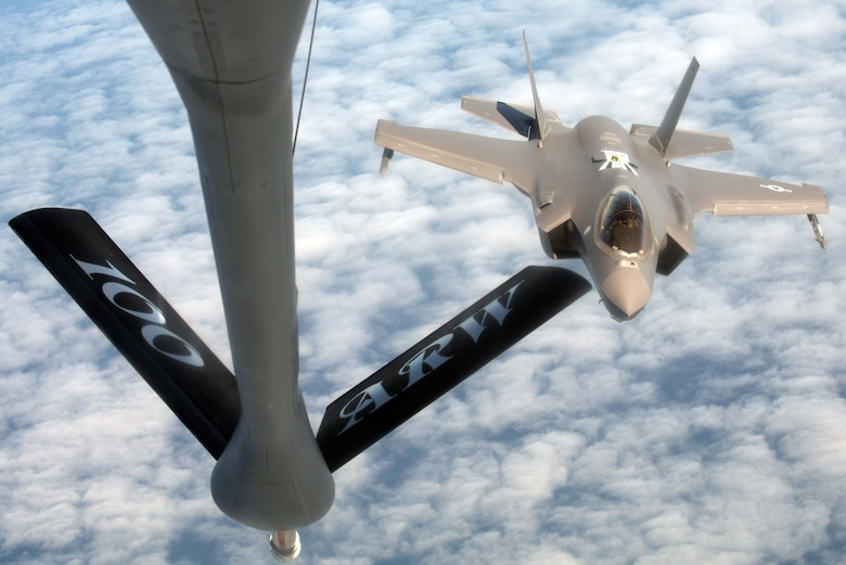 A U.S. Air Force F-35A Lightning II, assigned to the 388th Fighter Wing, prepares to receive fuel from a U.S. Air Force KC-135 Stratotanker, assigned to RAF Mildenhall, England, during Exercise Point Blank over the North Sea, June 27, 2019. Approximately 52 aircraft from three nations, U.S., France and the UK, participated in Exercise Point Blank. This exercise was a perfect opportunity for aircraft to train alongside other types of allied aircraft in a realistic training environment. (U.S. Air Force photo by Senior Airman Benjamin Cooper)