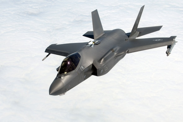 A U.S. Air Force F-35A Lightning II, assigned to the 388th Fighter Wing, peels away from a  U.S. Air Force KC-135 Stratotanker, assigned to RAF Mildenhall, England, during Exercise Point Blank over the North Sea, June 27, 2019. Point Blank is an exercise focused on fourth and fifth-generation aircraft integration. It is important to integrate fourth and fifth-generation aircraft capabilities within the European theater since our allies and partner nations within Europe are operating the F-35. (U.S. Air Force photo by Senior Airman Benjamin Cooper)