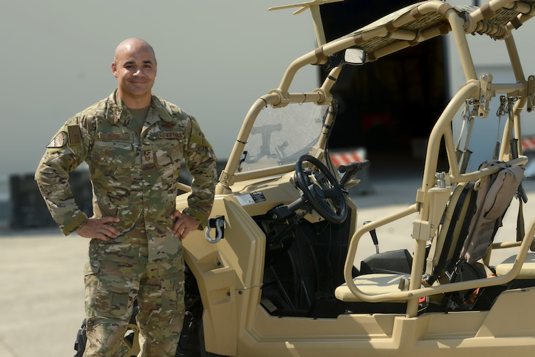 U.S. Air Force Master Sgt. Richard Duken, first sergeant of the 57th Rescue Squadron, poses for a photo next to a Military Razor vehicle at Aviano Air Base, Italy, June 25, 2019. The 57th Rescue Squadron leads, organizes, trains and equips Guardian Angel weapons system and combat support teams to conduct day and night personnel recovery operations in combat. (U.S. Air Force photo by Airman 1st Class Ericka A. Woolever).
