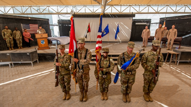 The 380th Air Expeditionary Wing Honor Guard presents the colors during the change of command ceremony July 1, 2019, at Al Dhafra Air Base, United Arab Emirates.