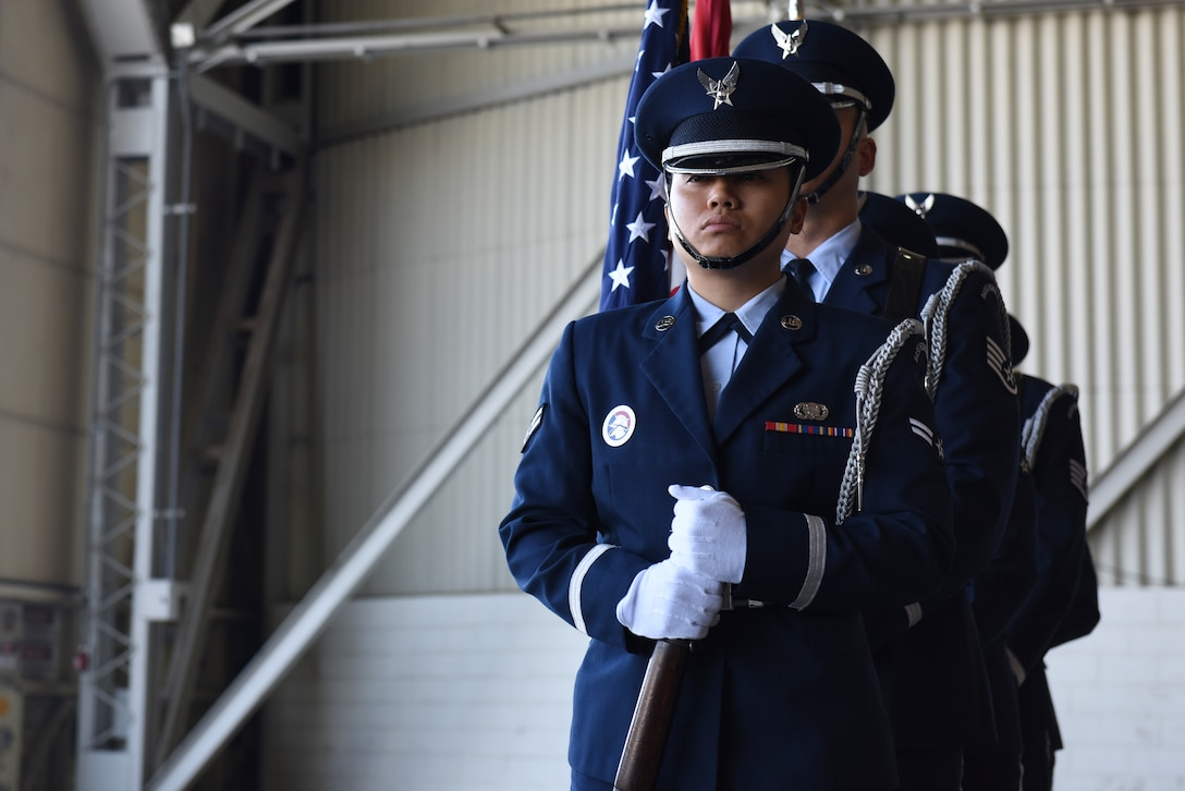 The Incirlik Air Base Honor Guard prepare to post the U.S. and Turkish flags during the 39th Air Base Wing Change of Command Ceremony July 2, 2019, at Incirlik Air Base, Turkey. At the beginning of every official function, the honor guard posts the U.S. and Turkish flags, followed by the singing of both the American and Turkish national anthems. (U.S. Air Force photo by Staff Sgt. Matthew J. Wisher)