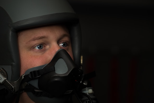 """.S. Air Force Cap. """"Champ"""", 94th Fighter Squadron F-22 Raptor pilot, trains on the Reduced Oxygen Breathing Device at Joint Base Langley-Eustis, Virginia, June 13, 2019."""