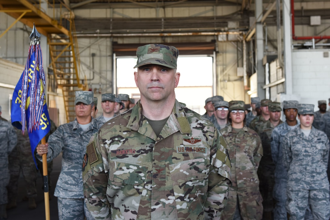 Col. John Hawkins, 39th Air Base Wing vice commander, leads a formation during the 39th ABW Change of Command Ceremony July 2, 2019, at Incirlik Air Base, Turkey. During wing-level change of command ceremonies, each group in the wing assembles a formation to be led by the vice commander. (U.S. Air Force photo by Senior Airman Joshua Magbanua)